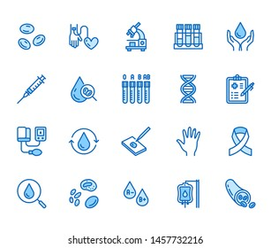 Hematology flat line icons set. Blood cell, vessel, sphygmomanometer, dna test, biochemical microscope vector illustrations. Outline signs for donor day. Editable Strokes.