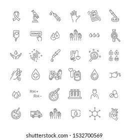 Hematology Vector icon. Outline signs for donor day