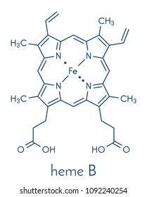 Heme B (haem B) molecule. Heme is an essential component of hemoglobin, myoglobin, cytochrome, catalase and other metalloproteins. Skeletal formula.