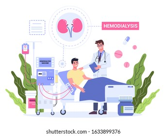 Hemodialysis for kidney treatment. Man get a kidney disease treatment. Patient in hospital with doctor having a internal injection. Vector illustration in cartoon style