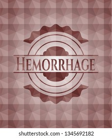 Hemorrhage red emblem with geometric pattern. Seamless.