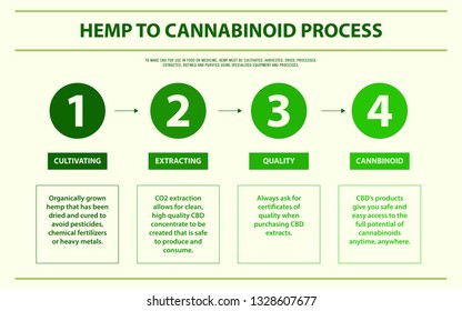 Hemp to cannabinoid process horizontal infographic, healthcare and medical illustration about cannabis