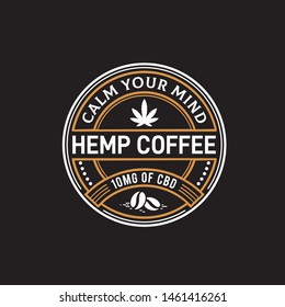 Hemp cannabis coffee seal logo design with weed leaf and coffee bean illustration on dark background