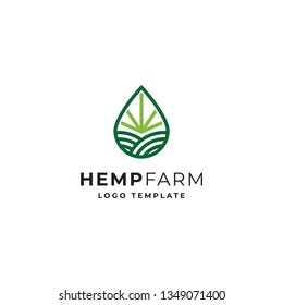 Hemp or Cannabis Farm Logo Template with oil or water drop