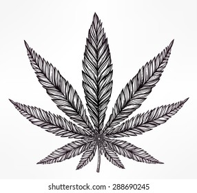 Hemp Cannabis Leaf in vintage linear style. Marijuana silhouette clip art. Concept design, Elegant tattoo artwork. Isolated vector illustration.