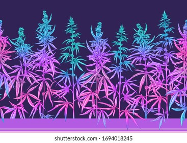 Hemp, Cannabis pattern, background. Vector illustration in botanical style in neon fluorescent colors