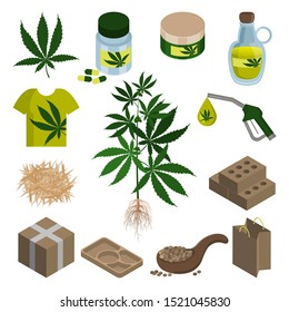 Hemp cbd oil. Seeds, hemp application in pharmaceutical, food, fuel and weaving industry, construction. Production of paper, biodegradable packaging. Set of isolated objects, icon on white backgroun