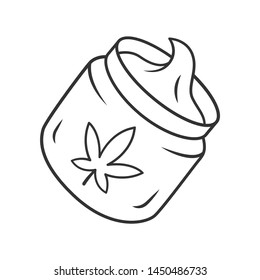 Hemp cream linear icon. Cannabis cosmetic product. Ganja distribution and sale. Jar of weed lotion. Thin line illustration. Contour symbol. Vector isolated outline drawing. Editable stroke