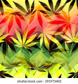 Hemp leaves on chevrons background. Seamless pattern,