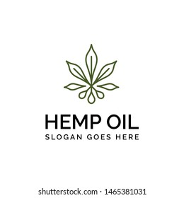 Hemp line art logo design with weed leaf shape and oil drop graphics