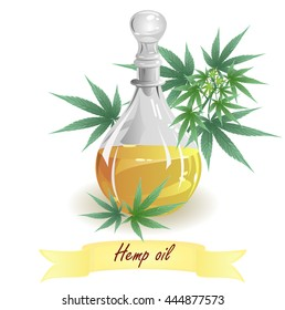Hemp oil (hempseed oil). Hand drawn vector illustration of glass jug with oil and hemp leaves on white background.