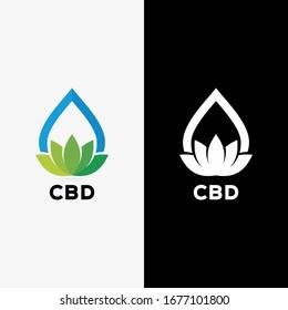 hemp oil logo vector template, cbd oil logo, cannabis leaf and water drop combination logo vector