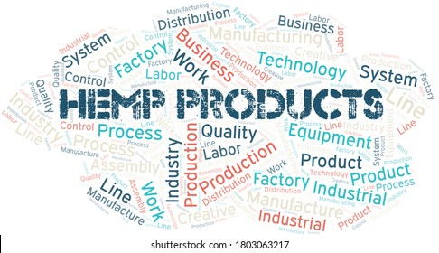 Hemp Products word cloud create with text only.