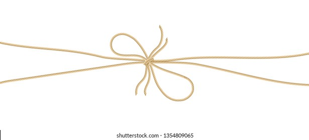 Hemp rope with bow knot on white background