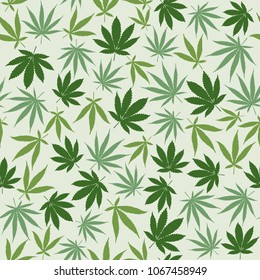 Hemp seamless pattern background with different leaves, herbal medicine and cannabis concept