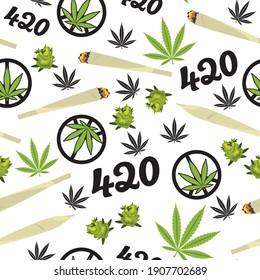Hanf nahtloser Muster Hintergrund mit Marihuana Blättern, Knospen, Zigaretten und Cannabis Konzept. Einziger Vektorhintergrund