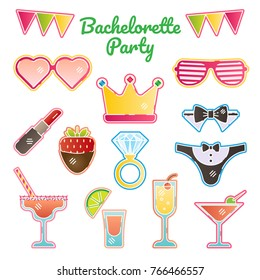 Hen / bachelorette / bride party vector illustration kit. Girls night out vector stickers kit. Bridal party essentials.