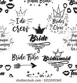 Hen bachelorette party vector seamless pattern with wedding symbols and slogans. Black card simple logo illustration on white background in hand drawn hipster style.