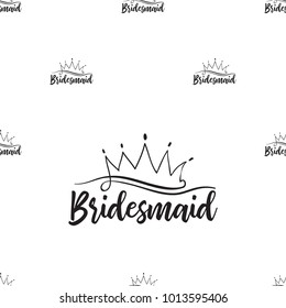 Hen bachelorette party vector seamless pattern with bridesmaid crown logo. Black card simple crown logo illustration on white background in hand drawn hipster style.