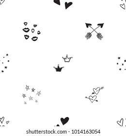 Hen bachelorette party vector seamless pattern with crowns, smiles, hearts and arrows. Black card simple logo illustration on white background in hand drawn grunge hipster style.