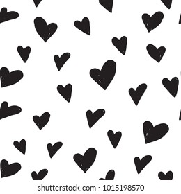 Hen bachelorette party vector seamless pattern with black hearts. Black card simple heart illustration on white background in hand drawn hipster grunge style.