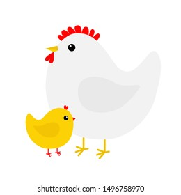Hen and chicken bird icon set. Mother and baby. Happy Easter. Cute cartoon funny kawaii chick character. Flat design