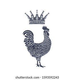 Hen or chicken with Crown hand drawn with contour lines on white background. Elegant monochrome drawing of domestic farm poultry bird. illustration in vintage woodcut, engraving or etching style