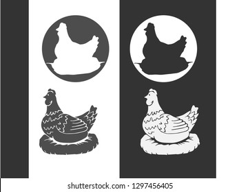 Hen, chicken. Vintage logo, retro print, poster for Butchery meat shop, hen silhouette. Logo template for meat business, meat shop. Isolated black silhouette hen, white background. Vector Illustration