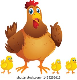 Hen and Chickens cartoon vector and illustration
