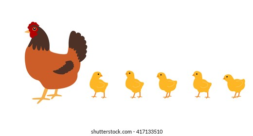 Hen with chickens. White background. Isolated. Vector Image.