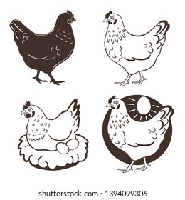 Hen and eggs. Chicken farm premium quality. Fresh eggs logo.   Premium element design packaging.
