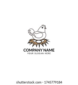 Hen Logo Design-Chicken & Egg Logo Design-Hen Logo Template