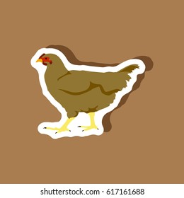 hen paper sticker on stylish background