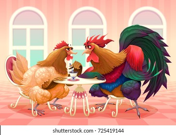Hen and rooster in a cafe. Funny cartoon vector illustration