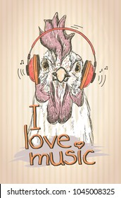 Hen or rooster listen music with headphones, hand drawn graphic illustration