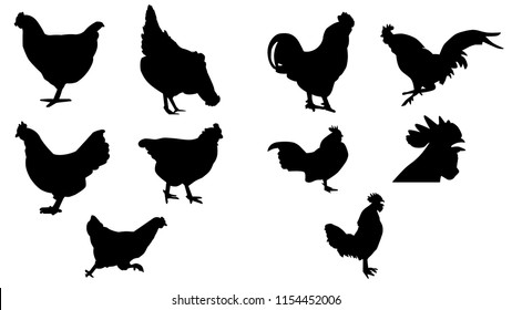 Hen & Rooster Silhouette Icon Logo Set