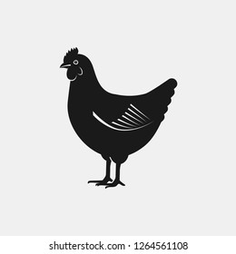 Hen silhouette. Farm animal icon