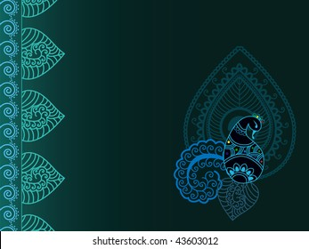 Henna abstract paisley- peacock background