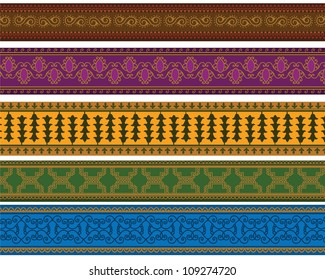 Henna Banner/ Border, Henna inspired Colourful Border - very elaborate and easily editable