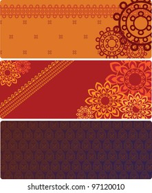 Henna Banner, Henna inspired Colourful Banner - very elaborate and easily editable