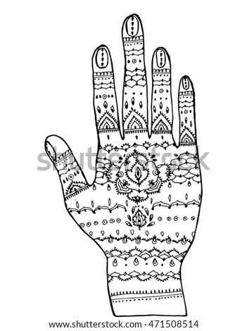 Henna Drawing On Hand Henna Line Stock Vector Royalty Free