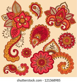 Henna Flowers and Paisley Mehndi Tattoo Doodle Set- Colorful Abstract Floral Hand Drawn Vector Illustration Design Elements
