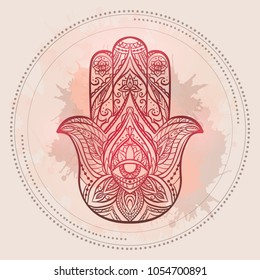 Henna illustration of Hamsa with boho pattern and watercolor spots in circles on light pink background. Buddhas hand. Vector element for your sketch of tattoo, T-shirt print and your design.