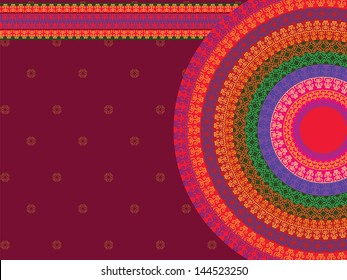 Henna Mandala Background, Henna inspired Colourful Mandala - very elaborate and easily editable