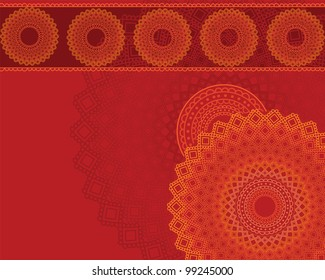 Henna Mandala Background, Henna inspired Colourful Mandala - very elaborate and easily editable-