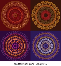Henna Mandala, Indian art -Henna inspired Colourful Mandala - very elaborate and easily editable