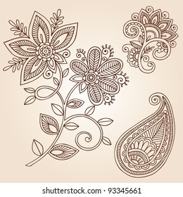 Henna Mehndi Flower Doodles Abstract Floral Paisley Design Elements Vector Illustration