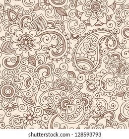 Henna Mehndi Tattoo Doodles Seamless Pattern- Paisley Flowers Illustration Design Elements