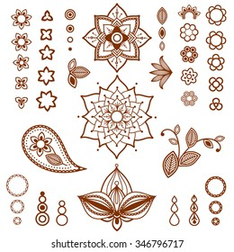 Henna ornamental floral elements. Mehndi style. Different types of flowers, petals, buds, leaves for mehndi tattoo design.