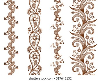 Henna ornamental seamless borders. Mehndi style. Four floral one-color borders, vertical seamless pattern. Smartly layered.